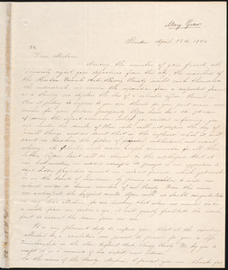Copy of letter from Boston Female Anti-slavery Society, Boston, to Charlotte Phelps, April 12th 1834