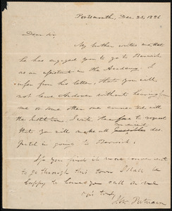 Letter from Israel Warburton Putnam, Portsmouth, to Amos Augustus Phelps, Dec. 25, 1826