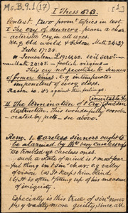Autograph notes for sermons by Amos Augustus Phelps