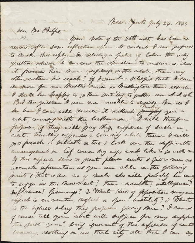 Letter from William Cochrane, New York, to Amos Augustus Phelps, July 24. 1846