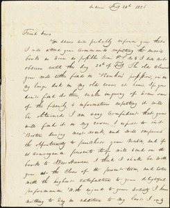 Letter from William Twining, Andover, [Massachusetts], to Amos Augustus Phelps, 1826 Feb[ruary] 23[r]d
