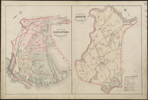 Outline & index map of Charlestown, city of Boston ; Outline & index map of Brighton, city of Boston