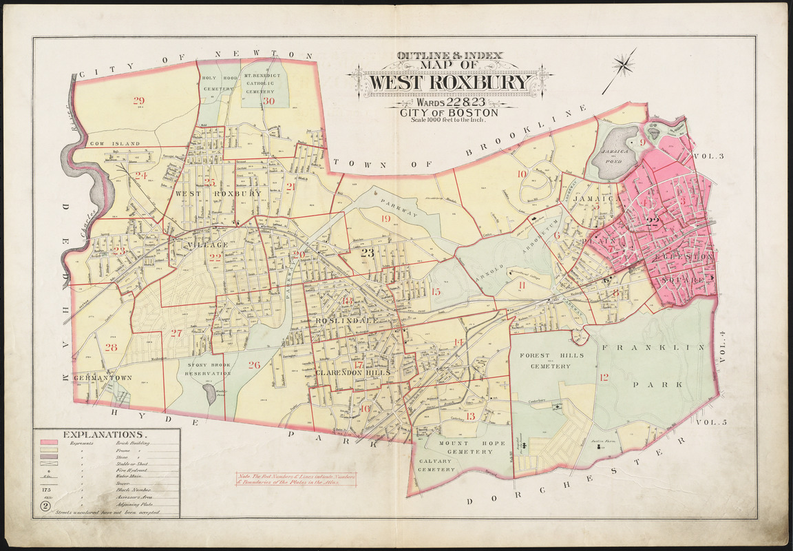 Outline & index map of West Roxbury, wards 22 & 23, city of Boston