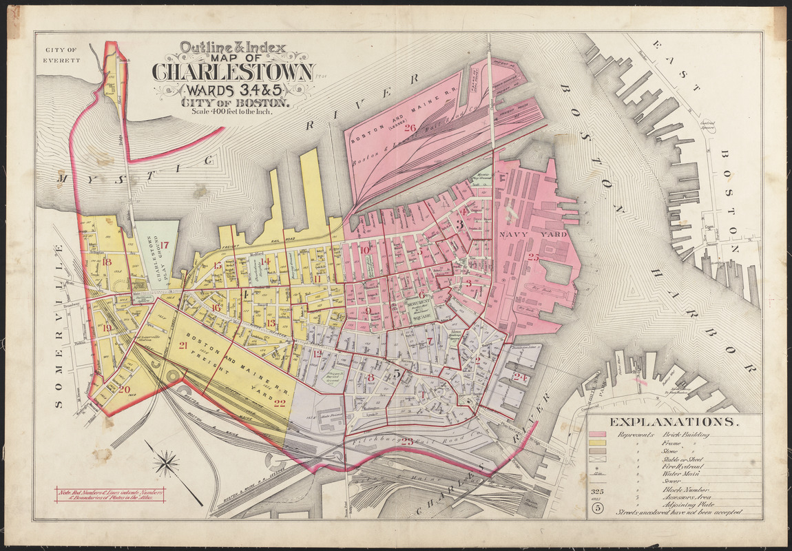 Outline & index map of Charlestown, wards 3, 4 & 5, city of Boston