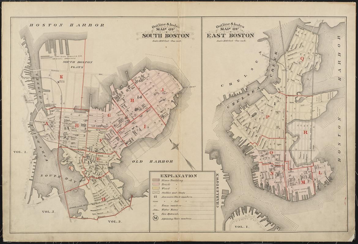 Outline & index map of South Boston ; Outline & index map of East Boston