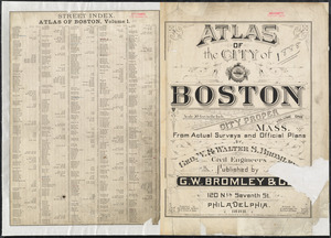 Atlas of the city of Boston : city proper, volume one ; street index