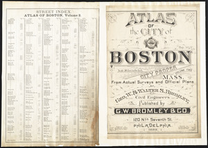 Atlas of the city of Boston : city proper, volume two ; street index