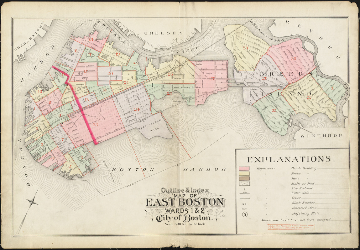 Outline index map of East Boston wards 1 2 city of Boston