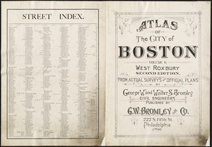 Atlas of the city of Boston, West Roxbury ; street index