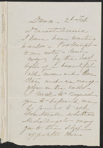 Sophia Hawthorne autograph note signed to Annie Adams Fields, [Concord], 2 February [1864?]