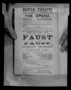 Advertisement for Boston Theatre's production of Faust