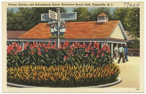 Flower garden and refreshment stand, Riverview Beach Park, Pennsville, N. J.