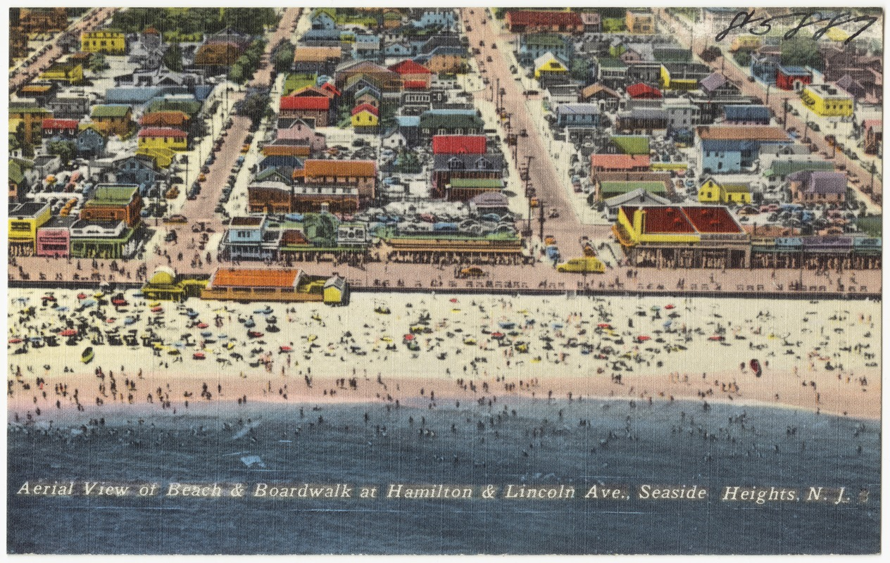 Aerial view of beach and boardwalk at Hamilton & Lincoln Ave., Seaside Heights, N. J.