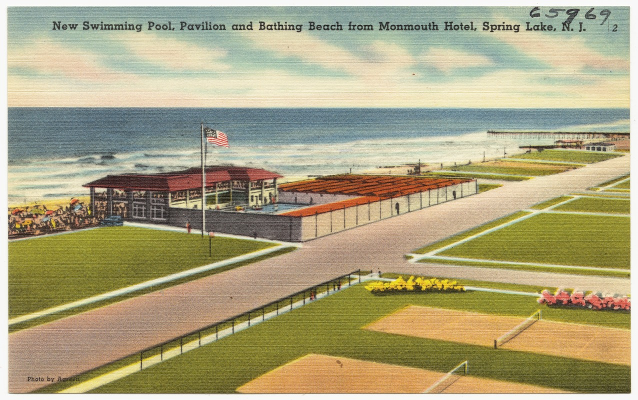 New Swimming Pool Pavilion And Bathing Beach From Monmouth Hotel Spring Lake N J