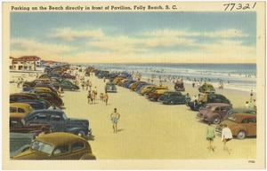 Parking on the beach directly in front of pavilion, Folly Beach, S. C.