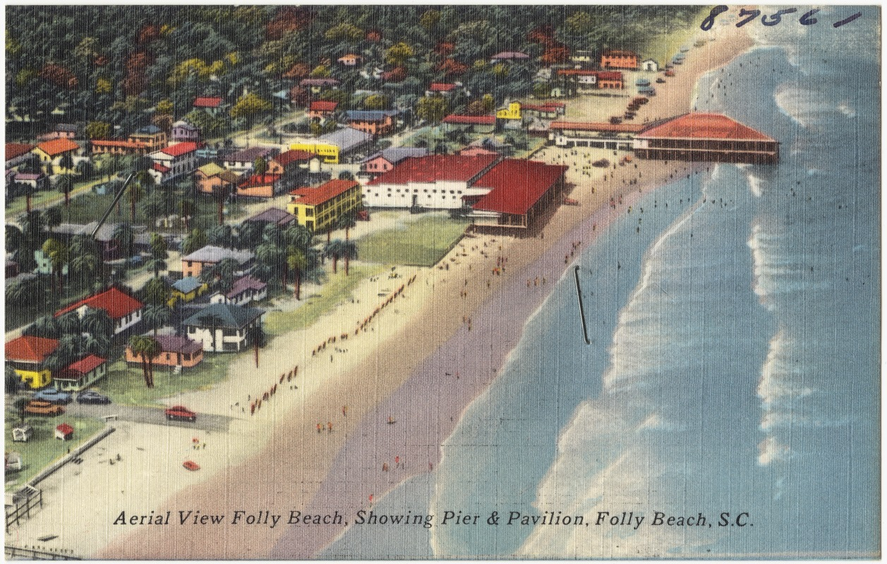 Aerial view Folly Beach, showing pier & pavilion, Folly Beach, S. C.