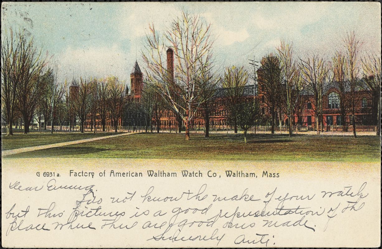 Factory of American Waltham Watch Co, Waltham, Mass