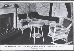 Corner of Ladies' Rest Room, Riverside Club, Waltham Watch Company, Waltham, Mass.