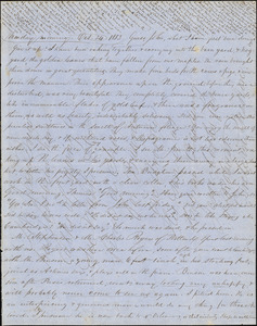 Letter from Zadoc Long to John D. Long, October 24, 1853