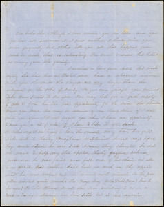 Letter from Persis Seaver Long Bartlett to John D. Long, October 28, 1853