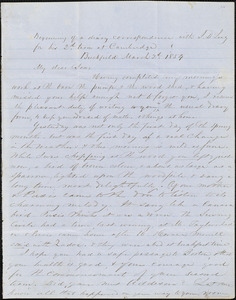Letter from Zadoc Long to John D. Long, March 2, 1854