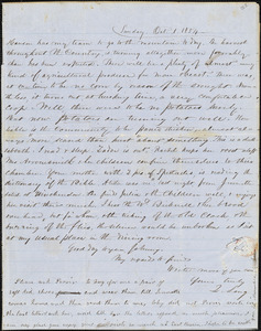 Letter from Zadoc Long and Julia Temple Davis Long to John D. Long, October 1, 1854