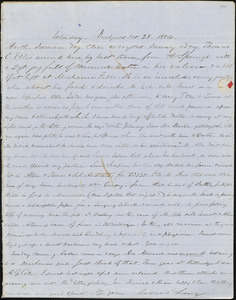 Letter from Zadoc Long to John D. Long, October 28, 1854