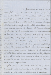 Letter from Zadoc Long to John D. Long, December 2, 1854
