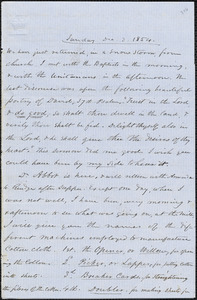Letter from Zadoc Long to John D. Long, December 3, 1854