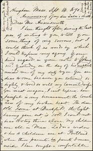 Letter from Zadoc Long to Mrs. Arrowsmith, September 14, 1870