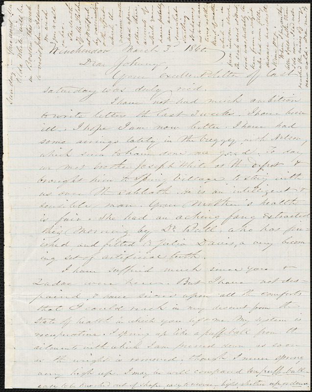 Letter from Zadoc Long to John D. Long, March 3-5, 1860