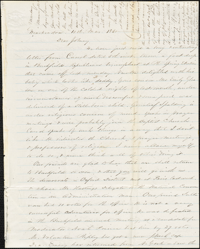 Letter from Zadoc Long to John D. Long, March 10-12, 1860
