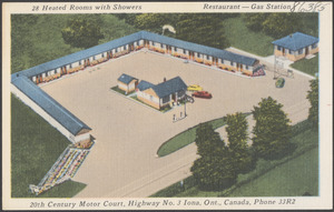 20th Century Motor Court, Highway No. 3, Iona, Ont., Canada, Phone 33R2
