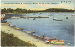 Bayside bathing beach & boat landing, Malletts Bay, Vt. on Lake Champlain