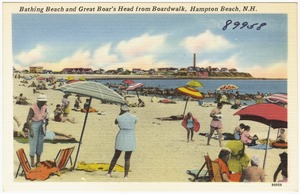 Bathing beach and Great Boar's Head from boardwalk, Hampton Beach, N.H.