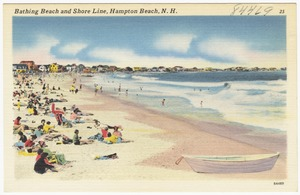Bathing beach and shore line, Hampton Beach, N.H.