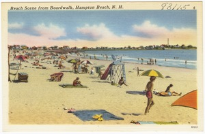 Beach scene from boardwalk, Hampton Beach, N.H.