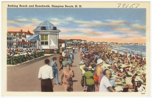 Bathing beach and boardwalk, Hampton Beach, N.H.