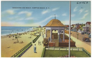 Bandstand and beach, Hampton Beach, N.H.