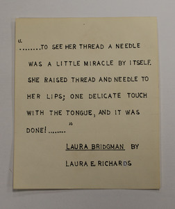 Quote about Laura Bridgman by Laura E. Richards on board