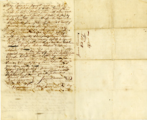 Last will and testament of James Deneson credited as the first settler in Southbridge Massachusetts