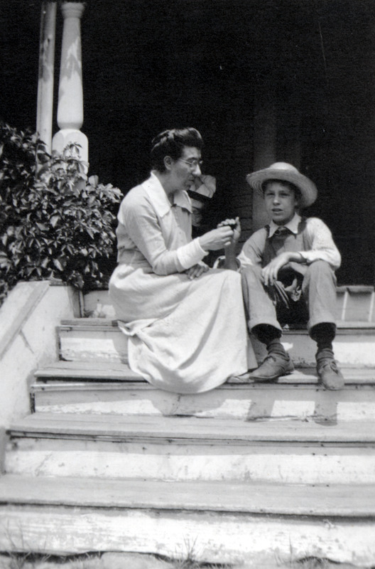 Ernest and Teacher on Porch