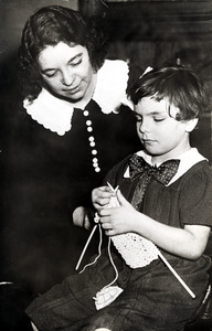 Helen Knitting with her Teacher