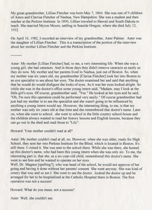 Oral history transcript with Aster Palmer, daughter of Lillian Fletcher (p 1 of 2)