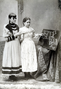 Edith and Lottie with Massachusetts Map