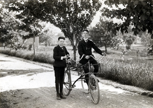 Tommy and Charles with a Sociable Tricycle
