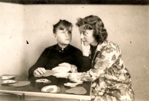 Leonard with Teacher, Gertrude Stenquist