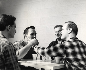 Leonard with Friends During Coffee Break