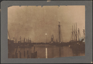 Picturesque view, taken on full moon about 20 minutes after sunset, New Bedford's harbor