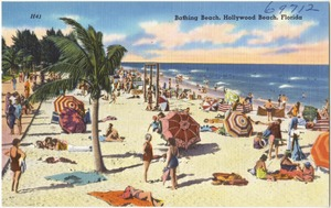 Bathing beach, Hollywood Beach, Florida